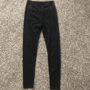 High waisted black suede leggings